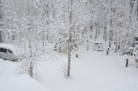 名残雪キャンピング♪