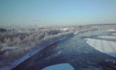 十勝川の流氷と円盤?