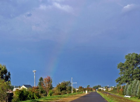 ウオーキング中に見られた虹