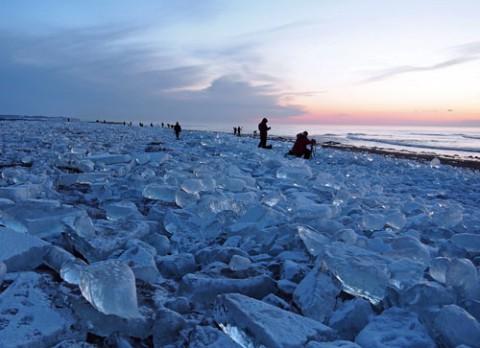 十勝川河口の流氷(ジュエリーアイス)