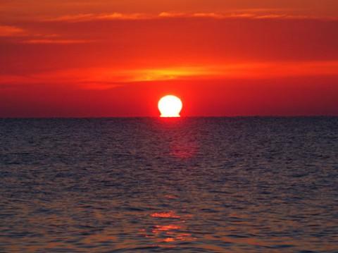 海で見たのは、だるま太陽