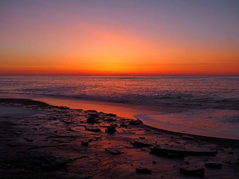 尺別の海の朝焼けと日の出