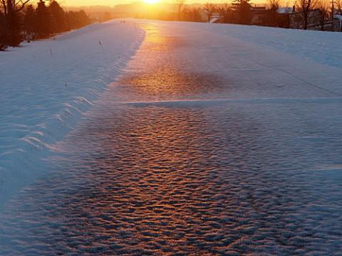 朝陽に染まる雪