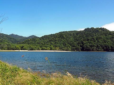 糠南ダム湖と今朝の朝焼け