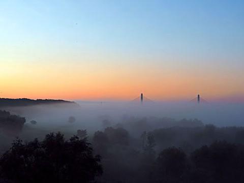 すすらん大橋から写した放射霧