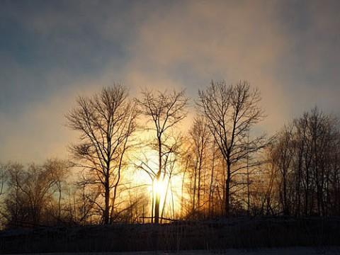 光芒とブロッケン現象を交互に写したー24度の十勝川