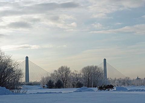 十勝大橋付近の霧氷風景