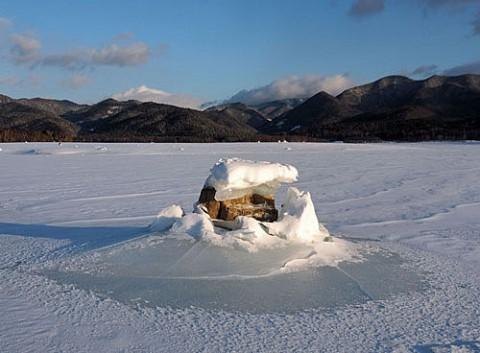 糠平のキノコ氷とオジロワシ