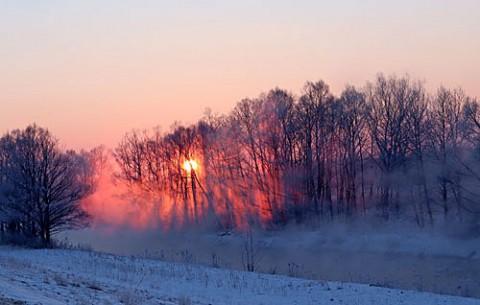 気嵐光芒と霧氷