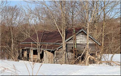 雪の中の廃屋