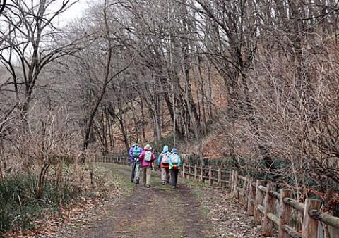 国見山に登山女性グループ