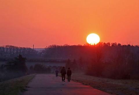 日の出時の散歩