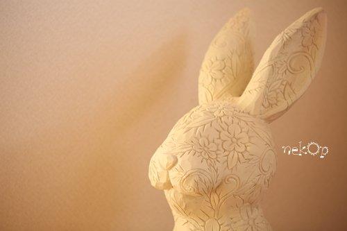 花柄のウサギ