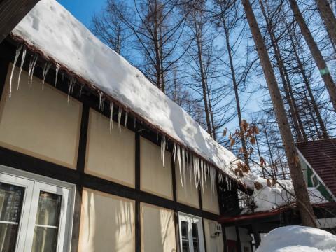 強い日差しで激しく雪どけ・・まもなく屋根の雪が落ちます!