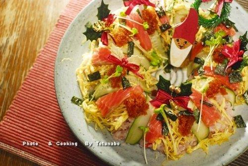 リース型チラシ寿司クリスマスバージョン