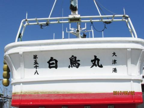 大津港の白鳥丸船名書いてきました。