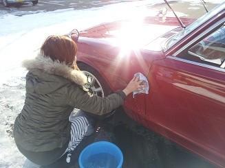 除雪の後洗車