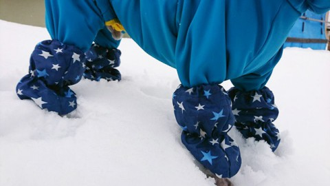 雪玉防止 レッグウォーマー 撥水生地 星柄