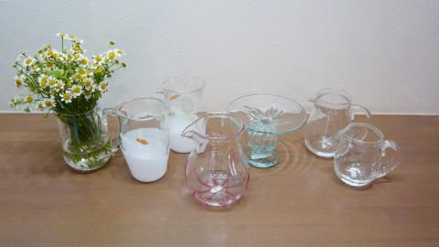 ガラス工房hum-peさんによる夏向けピッチャー型花器が入荷しました