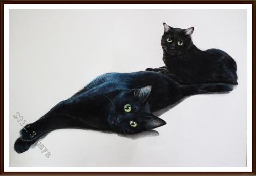 黒猫ちゃんの肖像画がお届け出来ました(^-^*)/