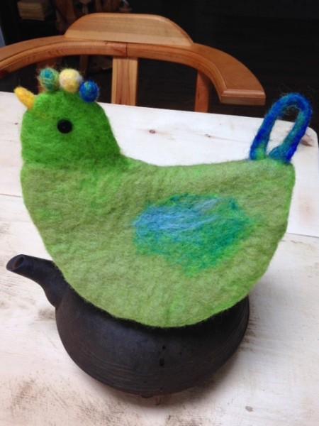 緑の鳥さん鍋つかみ^^