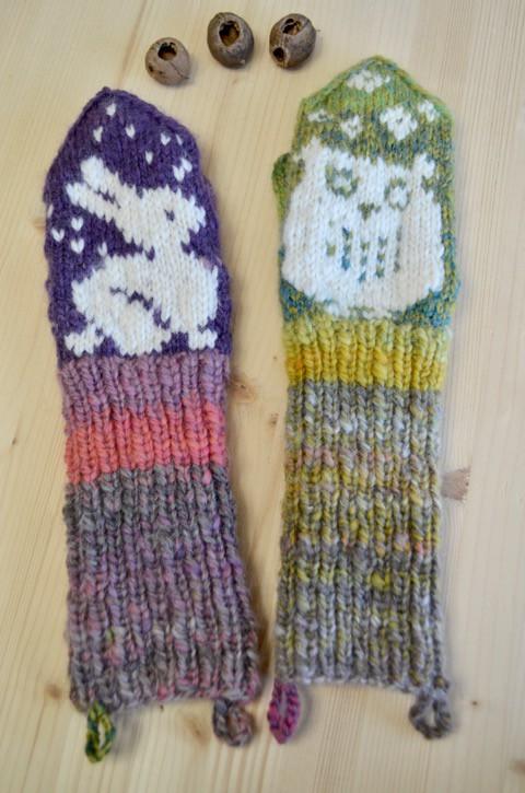 手編みのミトン* 小さな女の子たちへ