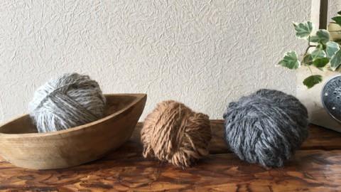 アルパカの糸を紡いで ニット帽子 ♪