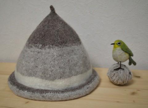 * 編んでからフェルティングの 帽子 *