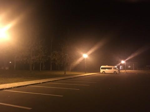 駐車場...