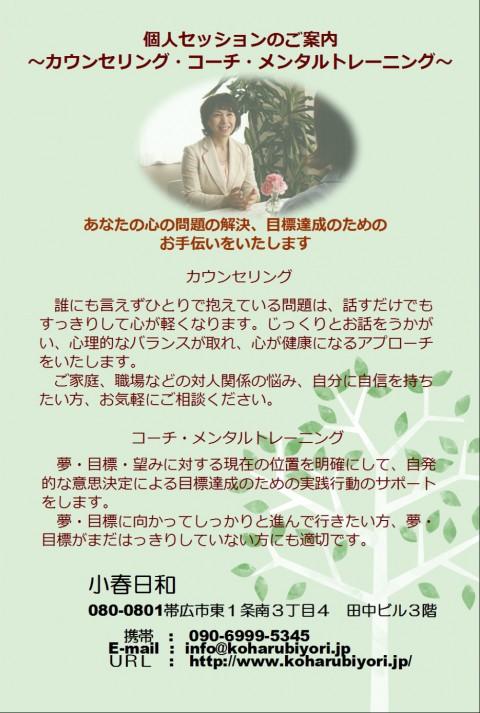 小春日和は個人向けメンタルサポートをしています