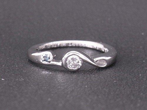 彫金教室 生徒さんの作品 pt950×ダイヤモンド 婚約指輪