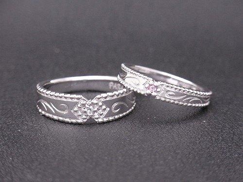 K18WG 想いがこもった手作り結婚指輪 帯広