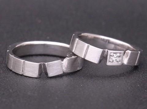 オーダーメイド プラチナ×ダイヤモンド 結婚指輪 pt900