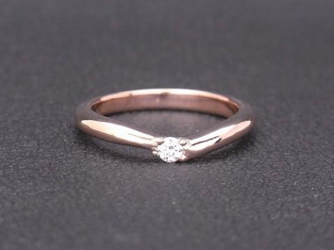 彫金教室生徒さんの作品紹介 K10ピンクゴールドのダイヤモンドリング