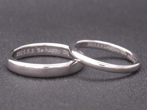オーダーメイド pt900(プラチナ)結婚指輪 メッセージリング