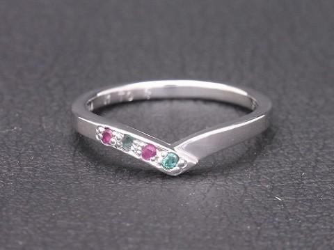 K18WG エメラルドとルビーの手作り結婚指輪