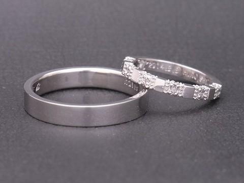 オーダーメイド pt900×ダイヤモンド 手作り結婚指輪