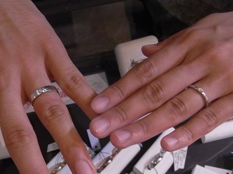 彫金教室でお作りして頂いた自分達だけのpt900結婚指輪