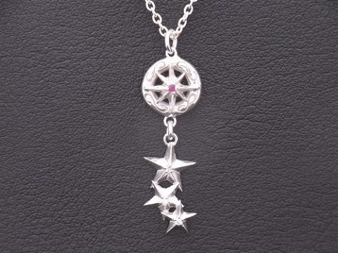 オーダーメイド 太陽神&3連スターネックレス ルビー&ダイヤモンド