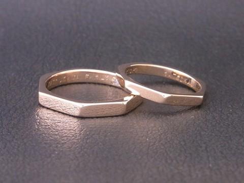 オーダーメイド! K18ピンクゴールドの正七角形の結婚指輪!