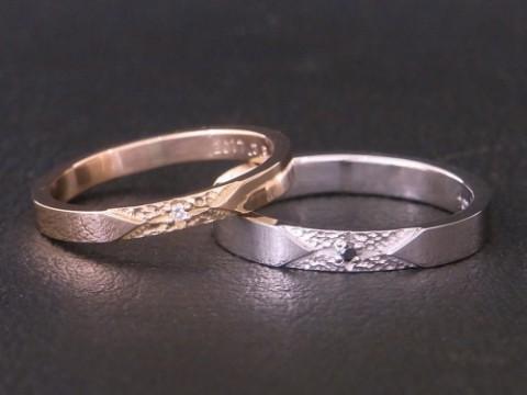 太陽モチーフの結婚指輪! pt900×K18PG