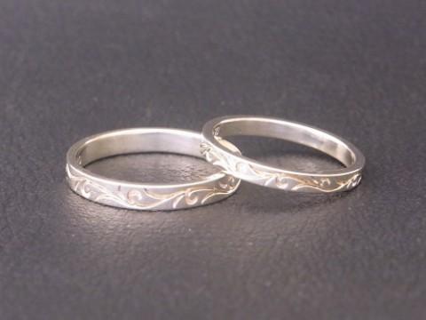 オーダーメイド! ホワイトゴールドで唐草模様の結婚指輪!