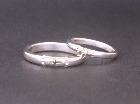 pt900×K18YG 太陽モチーフの結婚指輪!