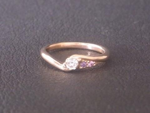 K18ピンクゴールドのオーダーメイド手作り婚約指輪!