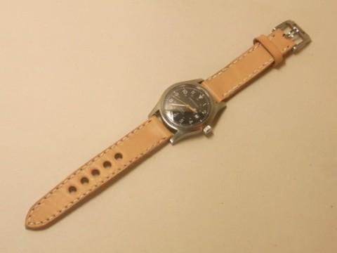 オーダーメイド! ハミルトン カーキにサドルレザー腕時計バンド作製!