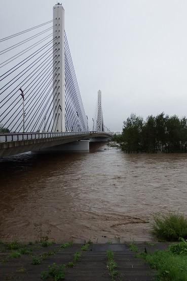 台風10号による十勝川の増水状況