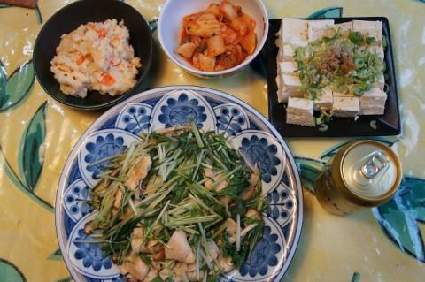 水菜と鶏ムネ肉のポン酢炒め~♪