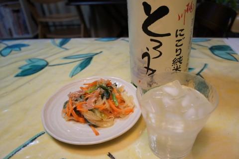 桃川にごり純米とろうま&ギョウジャニンニクのマリネ