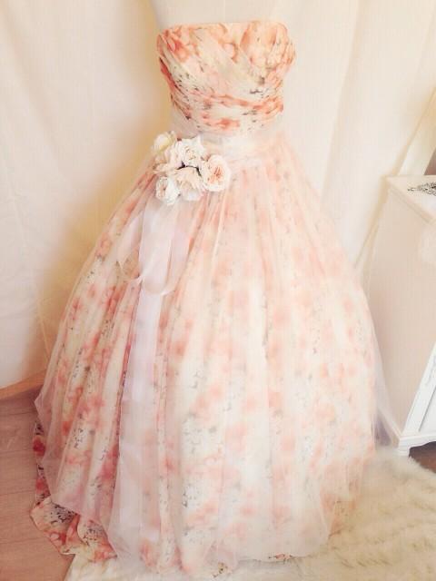 花柄カラードレスをアレンジ