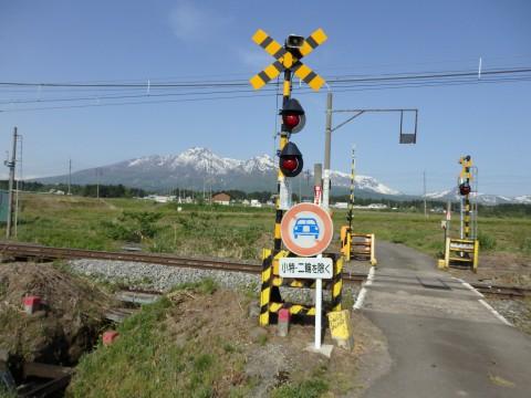 登った山をバックに列車を見るツアー 妙高山編
